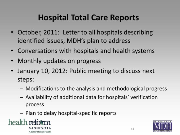 Hospital Total Care Reports