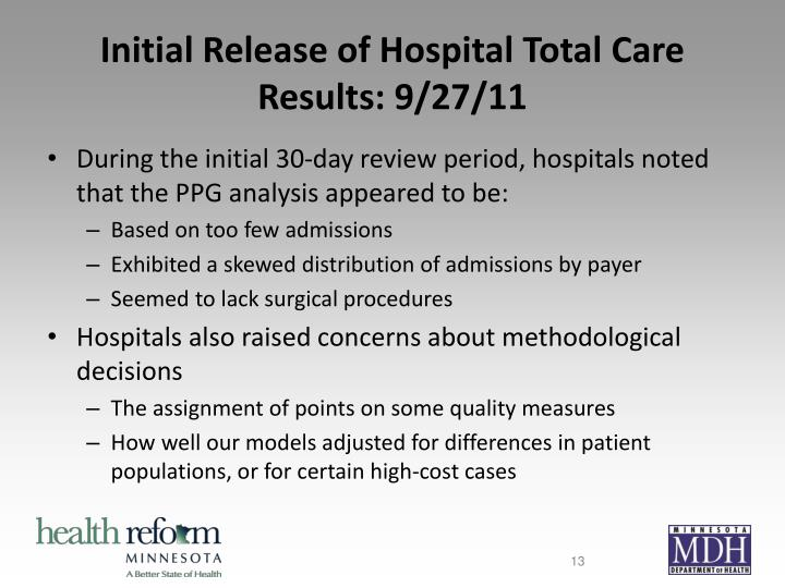 Initial Release of Hospital Total Care Results: 9/27/11