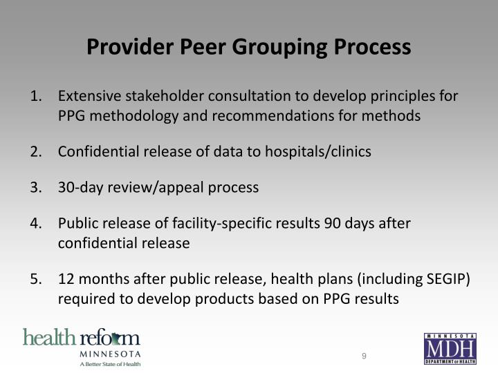 Provider Peer Grouping Process