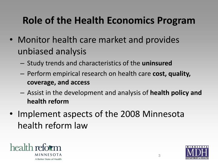 Role of the health economics program