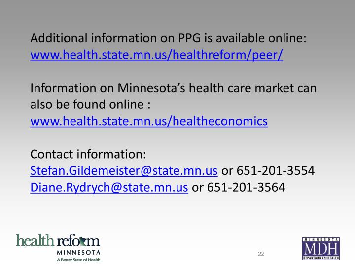 Additional information on PPG is available online: