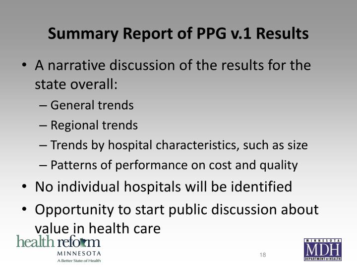 Summary Report of PPG v.1 Results