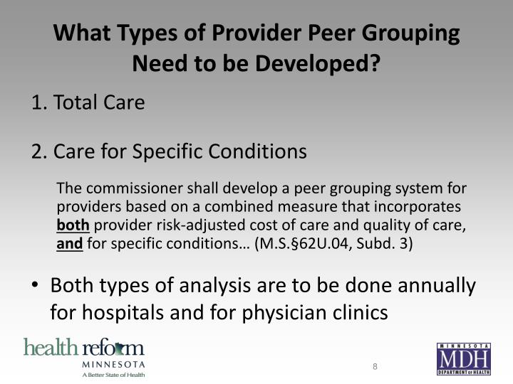 What Types of Provider Peer Grouping Need to be Developed?