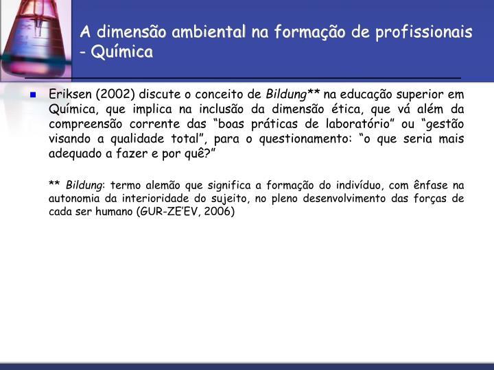 A dimensão ambiental na formação de profissionais - Química