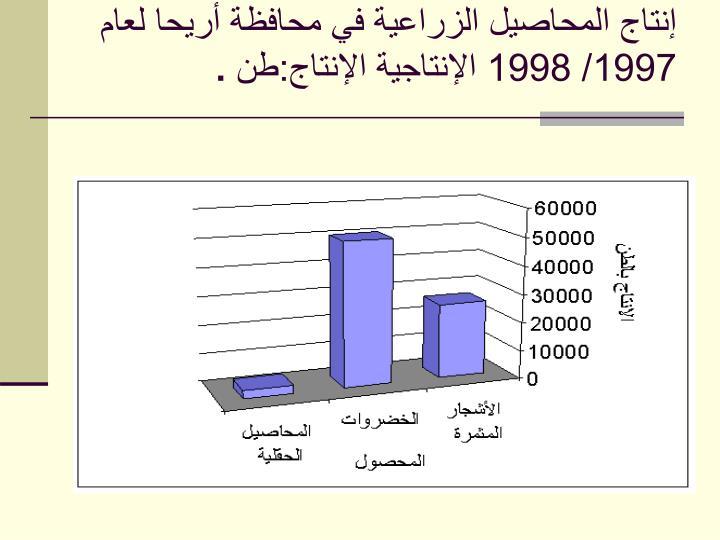 إنتاج المحاصيل الزراعية في محافظة أريحا لعام 1997/ 1998 الإنتاجية الإنتاج:طن