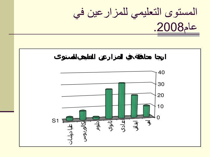 المستوى التعليمي للمزارعين في عام2008.