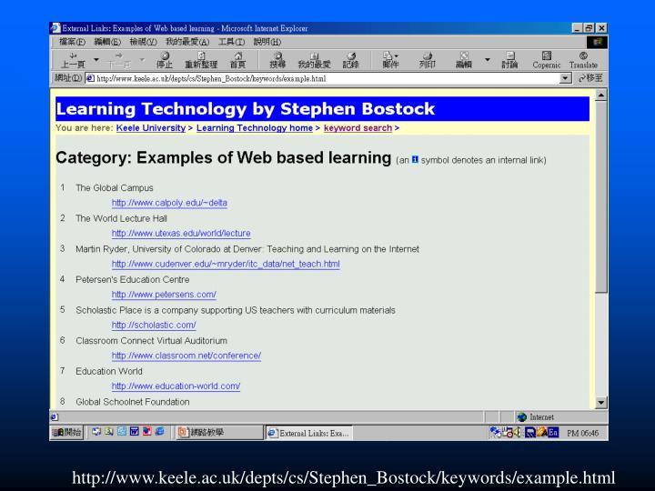 http://www.keele.ac.uk/depts/cs/Stephen_Bostock/keywords/example.html