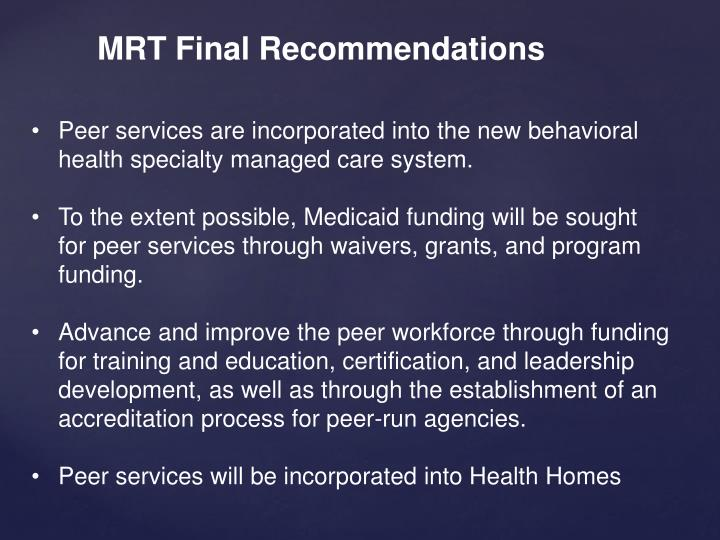 MRT Final Recommendations