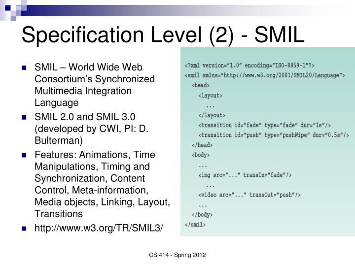 Specification Level (2) - SMIL