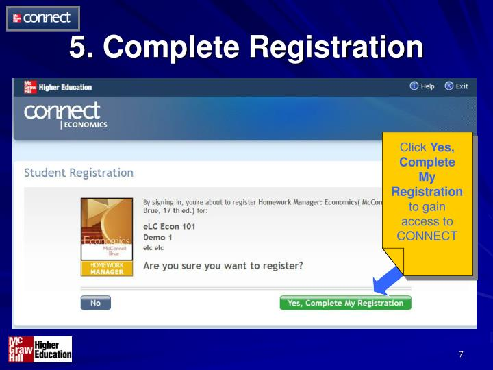 5. Complete Registration
