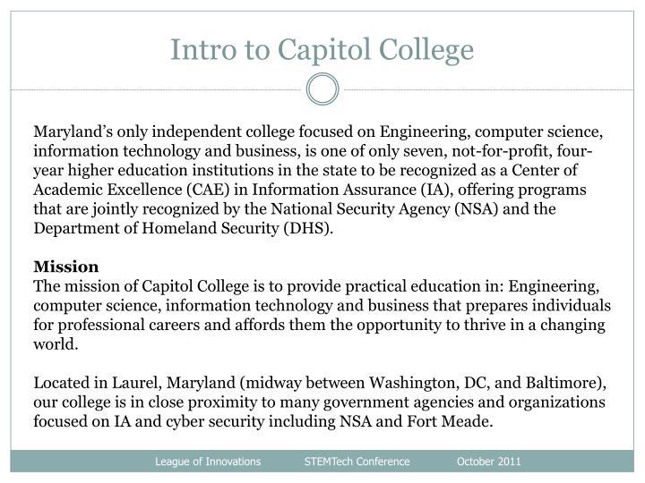 Intro to Capitol College