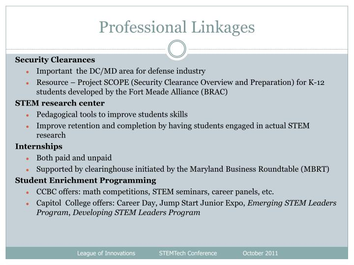 Professional Linkages