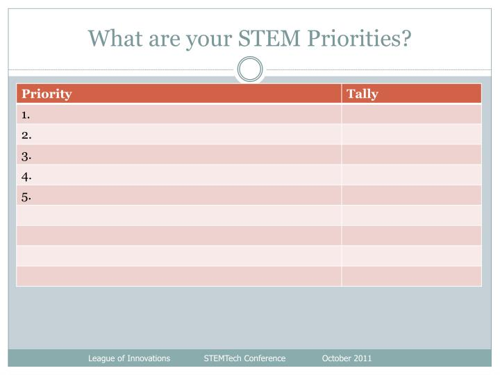 What are your STEM Priorities?
