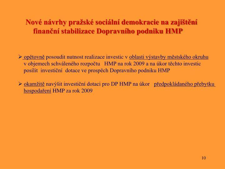 Nové návrhy pražské sociální demokracie na zajištění