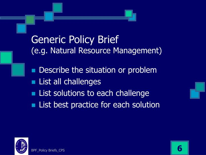Generic Policy Brief