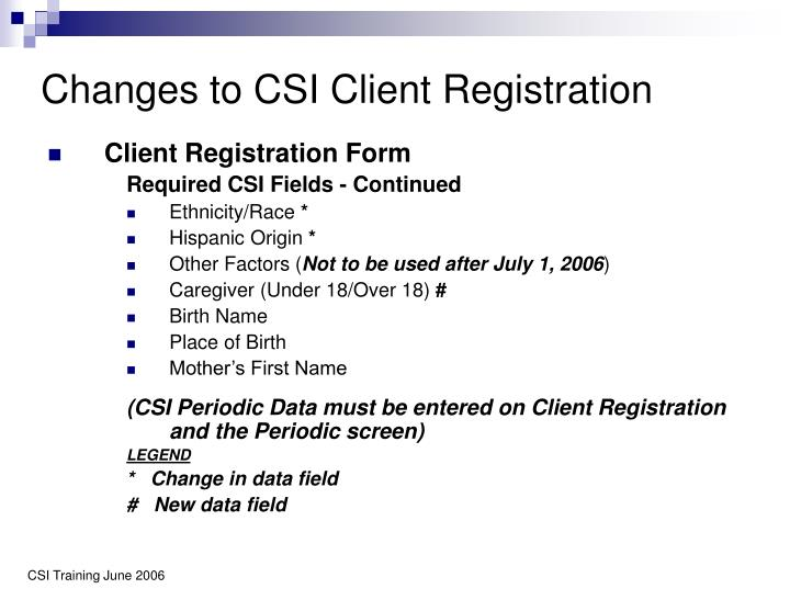 Changes to CSI Client Registration