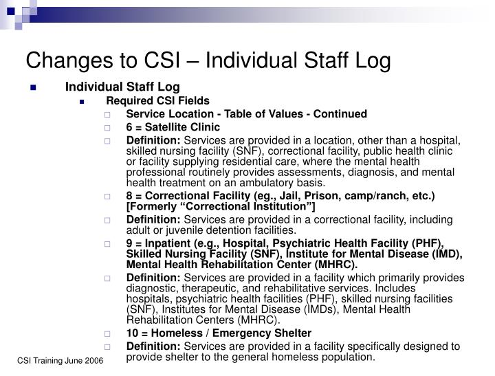 Changes to CSI – Individual Staff Log