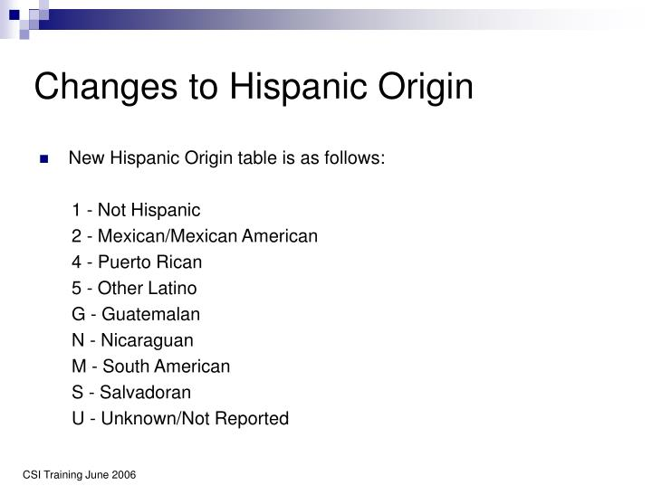 Changes to Hispanic Origin