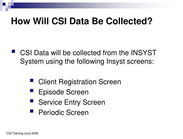 How Will CSI Data Be Collected?