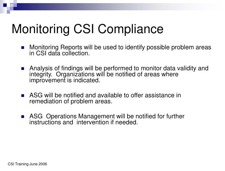 Monitoring CSI Compliance