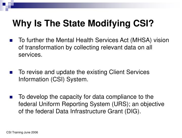 Why Is The State Modifying CSI?