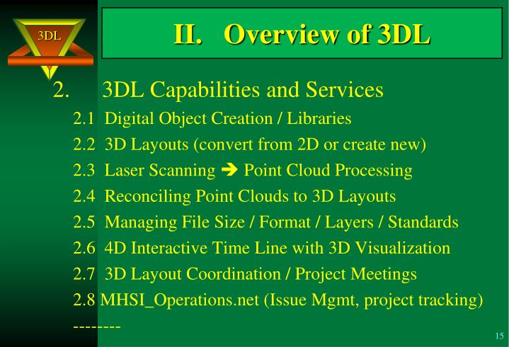II.   Overview of 3DL