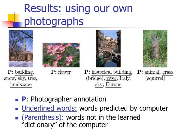 Results: using our own photographs