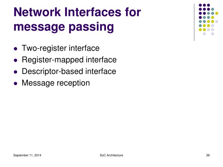 Network Interfaces for message passing