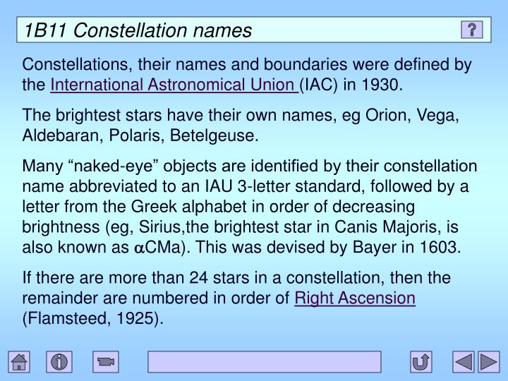 1B11 Constellation names