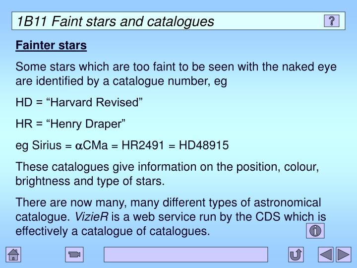 1B11 Faint stars and catalogues