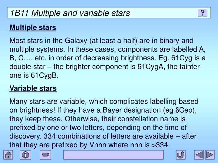 1B11 Multiple and variable stars