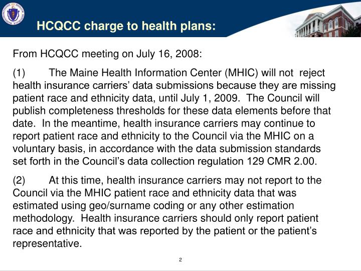 HCQCC charge to health plans: