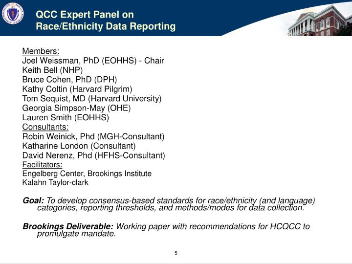 QCC Expert Panel on