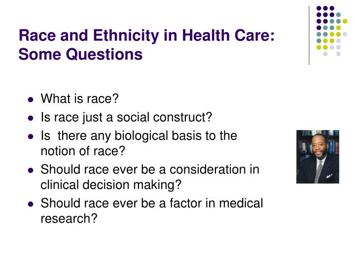 Race and ethnicity in health care some questions