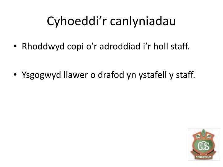 Cyhoeddi'r canlyniadau