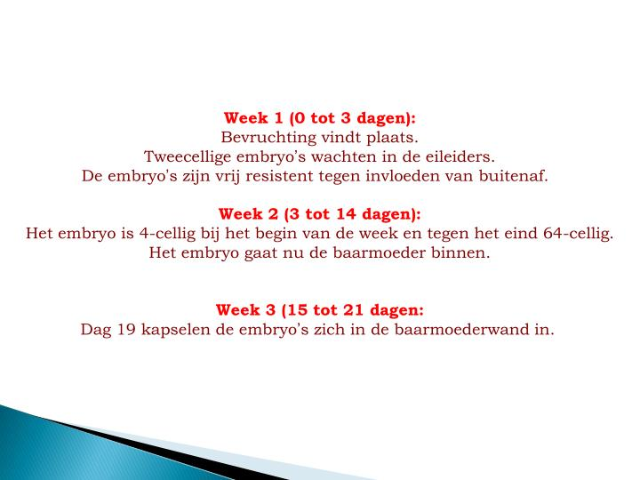 Week 1 (0 tot 3 dagen):