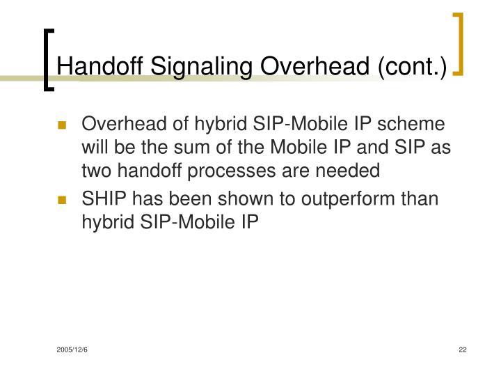 Handoff Signaling Overhead (cont.)