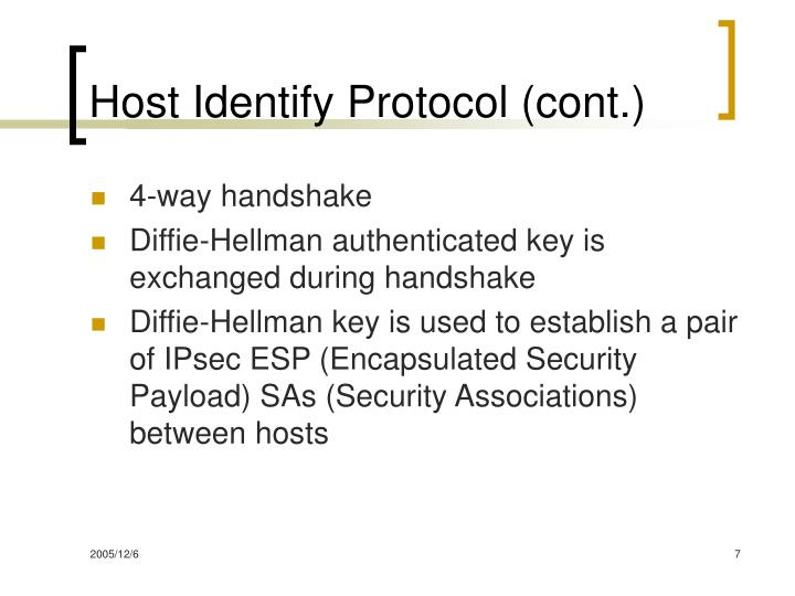 Host Identify Protocol (cont.)
