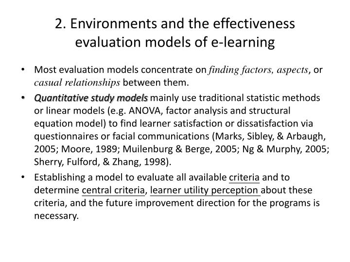 2. Environments and the effectiveness evaluation models of e-learning