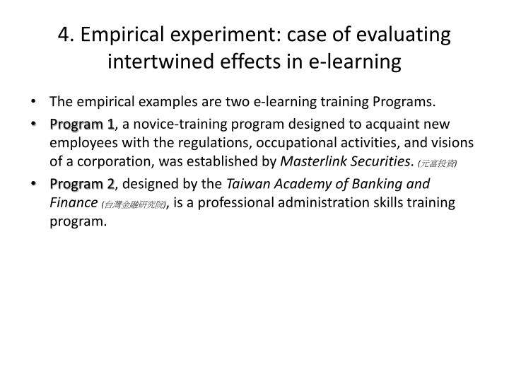 4. Empirical experiment: case of evaluating intertwined effects in e-learning