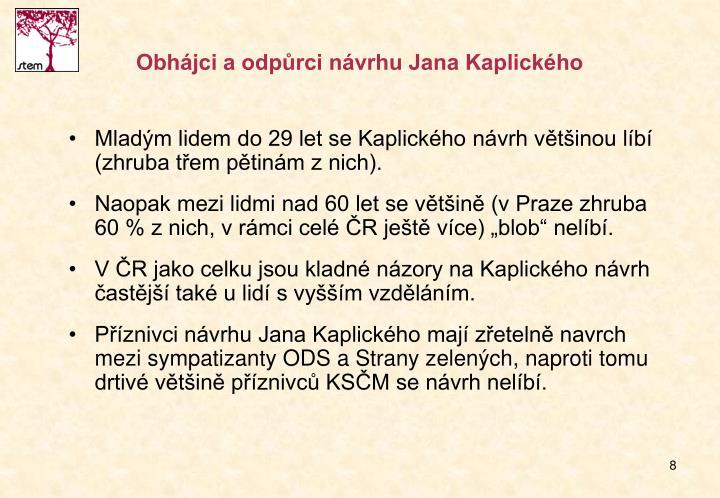 Obhájci a odpůrci návrhu Jana Kaplického