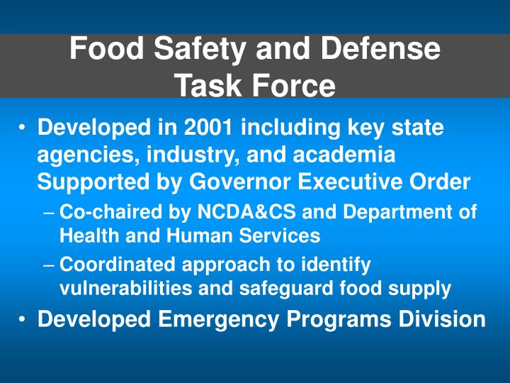 Food safety and defense task force