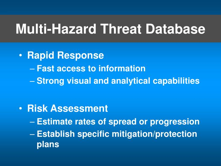 Multi-Hazard Threat Database