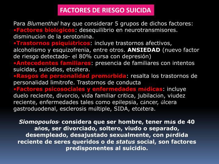 FACTORES DE RIESGO SUICIDA