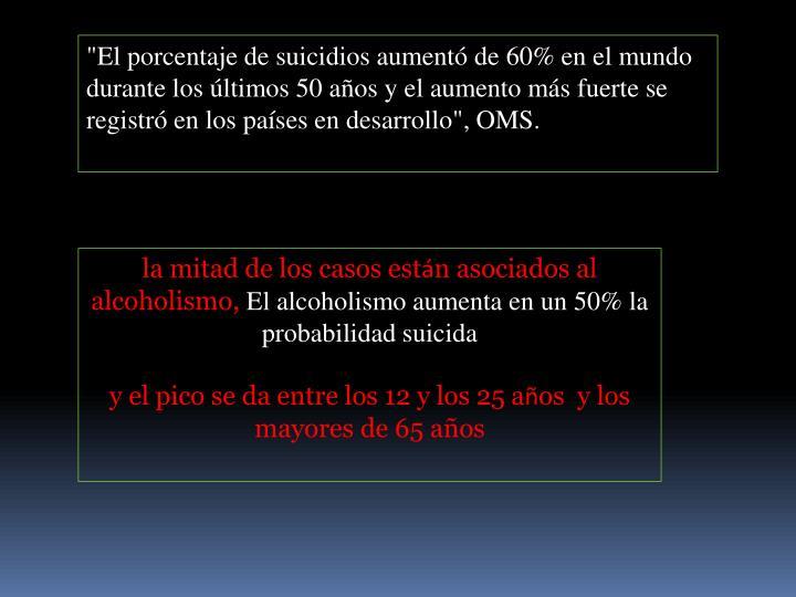 """""""El porcentaje de suicidios aumentó de 60% en el mundo durante los últimos 50 años y el aumento más fuerte se registró en los países en desarrollo"""", OMS."""