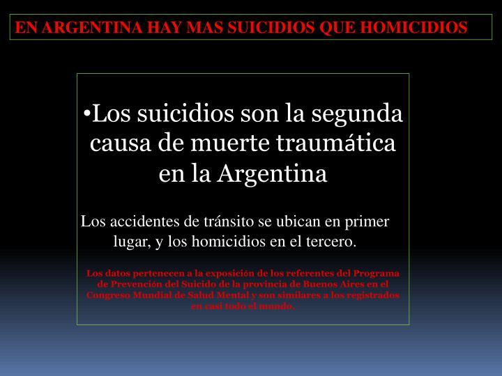 EN ARGENTINA HAY MAS SUICIDIOS QUE HOMICIDIOS