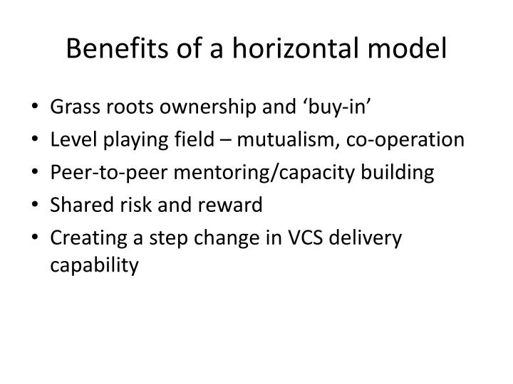 Benefits of a horizontal model