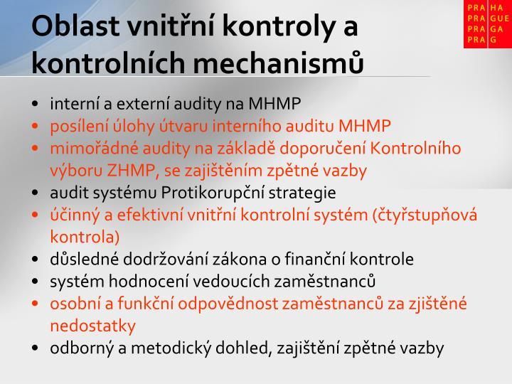 Oblast vnitřní kontroly a kontrolních mechanismů