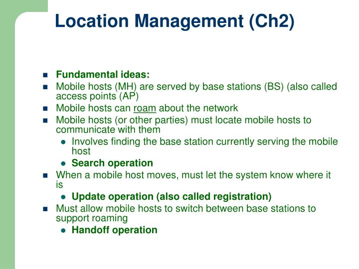 Location Management (Ch2)