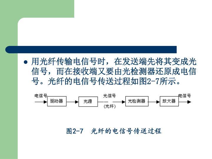 用光纤传输电信号时,在发送端先将其变成光信号,而在接收端又要由光检测器还原成电信号。光纤的电信号传送过程如图